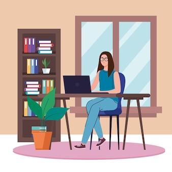 재택 근무 및 활동 테마의 가정 디자인에서 작업하는 노트북을 가진 여자.