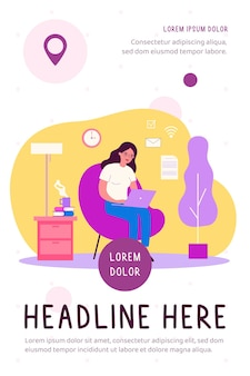 Woman with laptop working at home flat illustration