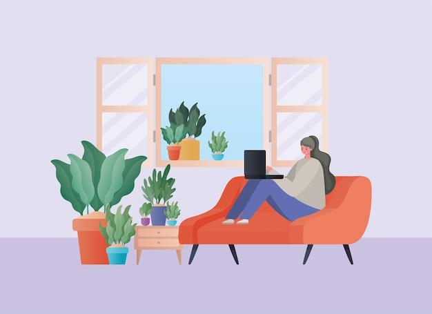 自宅のテーマからの仕事のオレンジ色のソファのデザインに取り組んでいるラップトップを持つ女性