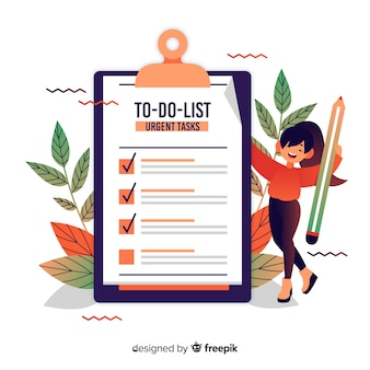 Woman with leaves checking giant check list background