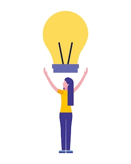 Woman with light bulb creativity