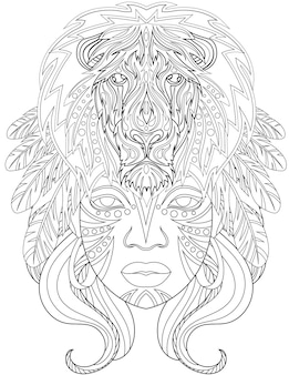 Woman with lion above head facing forward with feathers on hair colorless line drawing lady long
