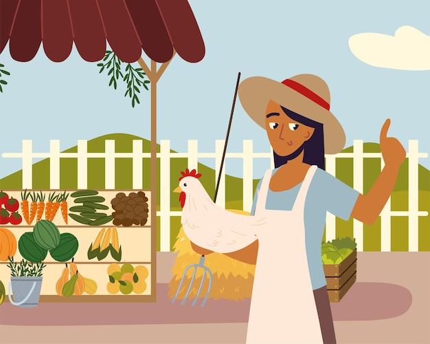 지역 특산품을 들고 있는 여성