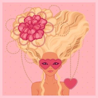 바로크 스타일 일러스트에서 긴 금발 머리를 가진 여자