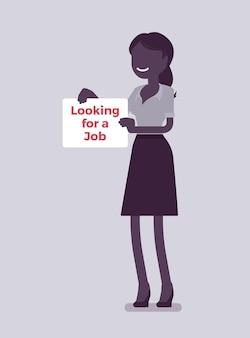 Женщина ищет знак объявления о работе