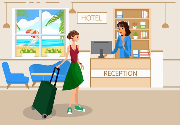 Woman with luggage in hotel lobby vector drawing