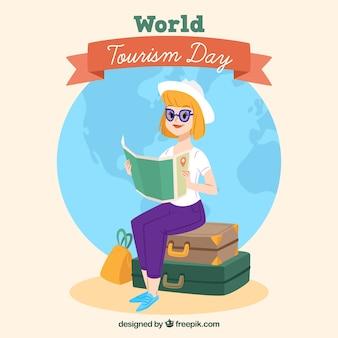 Donna con i bagagli e la mappa con il disegno piatto