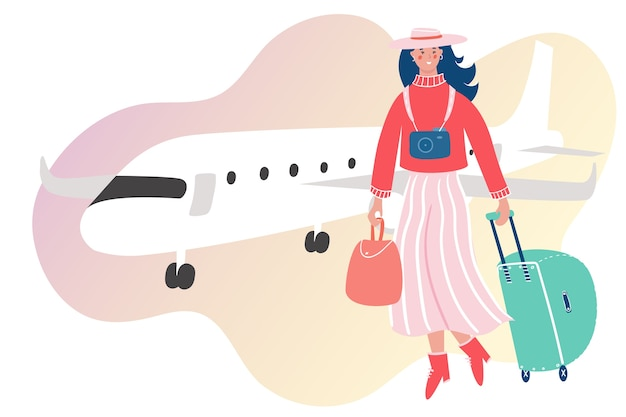 Woman with luggage traveling by plane. girl going on vacation on abstract background.
