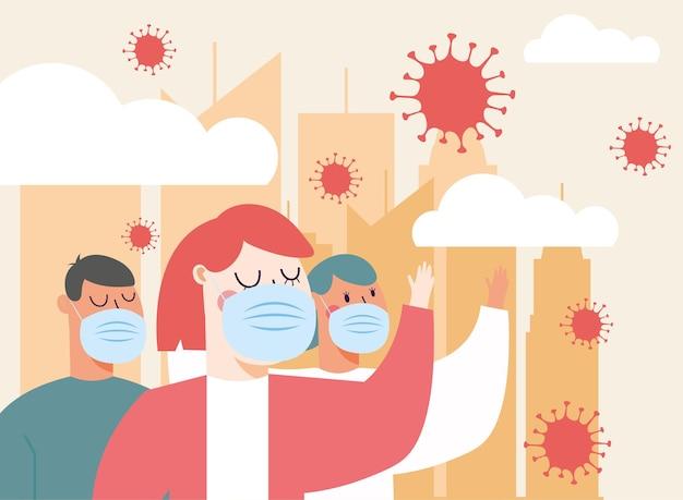 医療の都市デザインとcovid19ウイルスのテーマでマスクを持つ女性