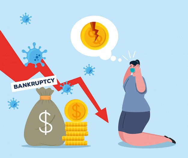 Woman with mask bag decrease arrow and broken coins of bankruptcy
