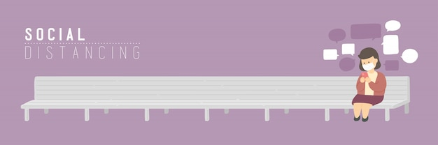 Женщина с маской чата смартфон на скамейке стул держать расстояние до защиты от вспышки covid-19, социальной концепции дистанцирования или социальной иллюстрации баннер на фиолетовом фоне, копией пространства