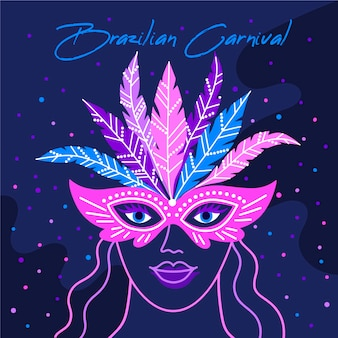 Woman with mask in the night hand drawn brazilian carnival