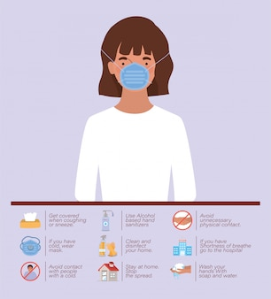 Covid 19 covコロナウイルス感染コロナ流行病の症状と医療テーマイラストの2019 ncovウイルス防止タイプデザインのマスクを持つ女性