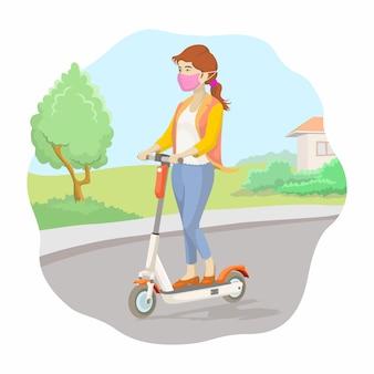 Женщина с маской ездить электрический скутер иллюстрации