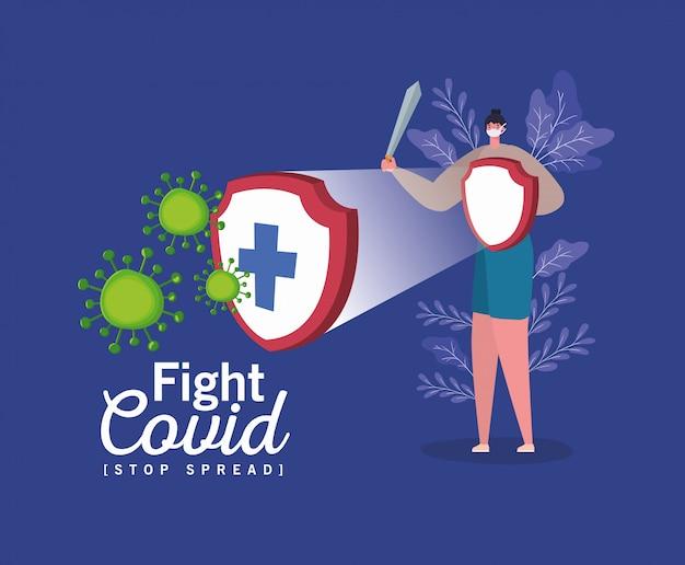 マスクシールドと剣の戦いウイルスを持つ女性