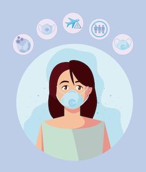 医療マスクとアイコンセットを持つ女性