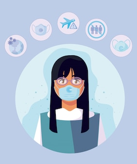 Woman with medical mask and icon set