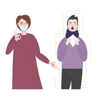 薬のヘルスケアマスクを持つ女性と鼻水とくしゃみを持つ男性