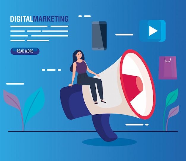디지털 마케팅의 확성기와 아이콘 세트를 가진 여자