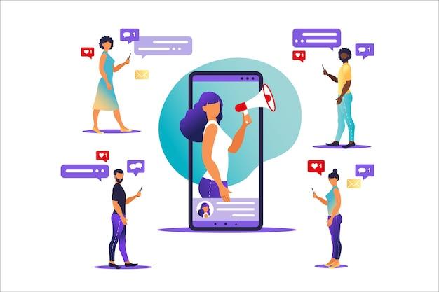 화면 휴대 전화 및 그녀를 둘러싼 젊은 사람들에 확성기와 여자. 캐릭터가있는 평면의 일러스트레이션-블로거 프로모션 서비스 및 그의 팔로워를위한 상품에 온라인으로 영향을 미칩니다.