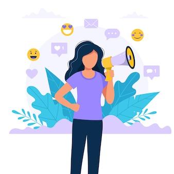 メガホンを持つ女性-友人、プロモーション、広告、発表の概念図を参照してください。