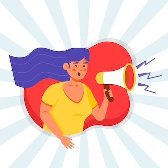 Woman with megaphone screaming illustration