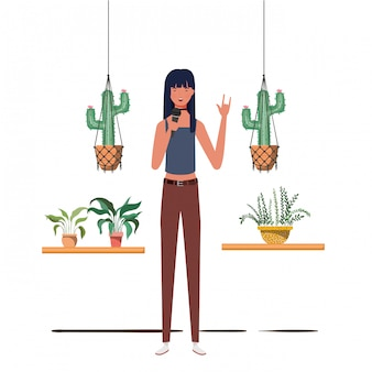 Woman with microphone with stand and houseplants on macrame hangers