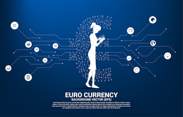 Woman with mobile phone and euro currency money icon