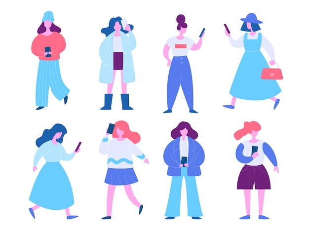 Woman with mobile phone illustration set