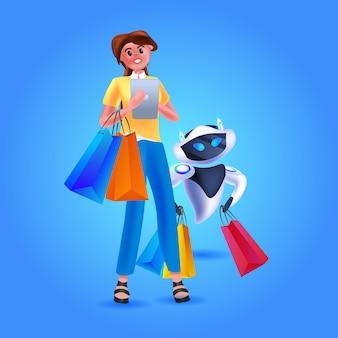 ショッピングバッグ人工知能の概念の完全な長さのベクトル図を保持している現代のロボットを持つ女性