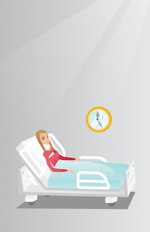 Woman with a neck injury vector illustration.