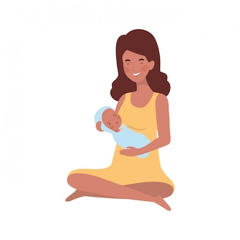 Woman with a newborn baby in her arms