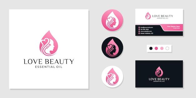 오일 드롭 개념, 뷰티 스파, 스킨케어, 화장품 로고 및 명함 디자인 템플릿을 가진 여성