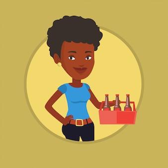 Женщина с пакетом пива векторные иллюстрации.