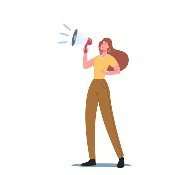 목구멍에 통증이 있는 여성이 확성기에 소리를 지릅니다. 성대 염증, 질병, 후두 세균 또는 바이러스 감염