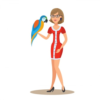 Woman with parrot flat vector color illustration