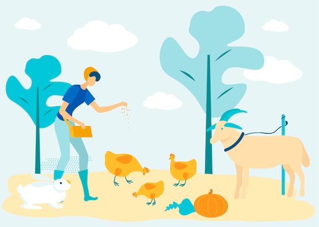 Женщина с кормом для домашних животных. цыплята и коза на ферме.