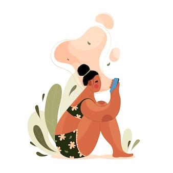 Женщина с телефоном в руке в плоском стиле. девушка сидит и смотрит в экран телефона на природе.