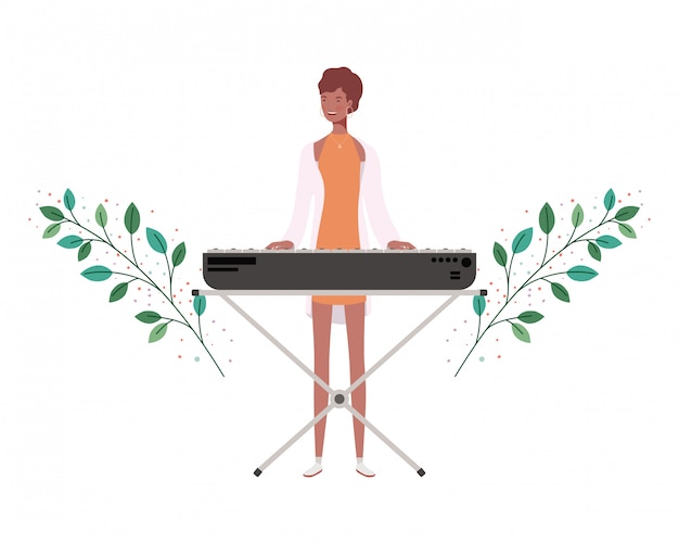 Woman with piano keyboard and branches and leaves