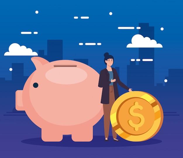 Женщина с копилкой и монетой