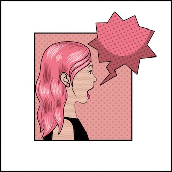Woman with pink hair and speech bubble pop art style