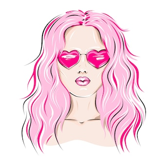 Woman with pink hair wearing heart-shaped glasses.