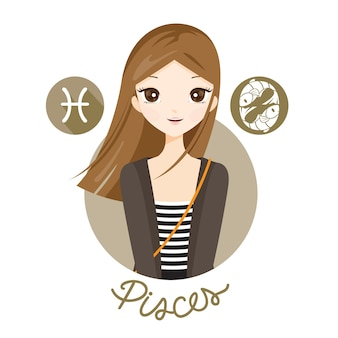 Woman with pisces zodiac sign