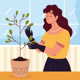 Woman with plant in a pot