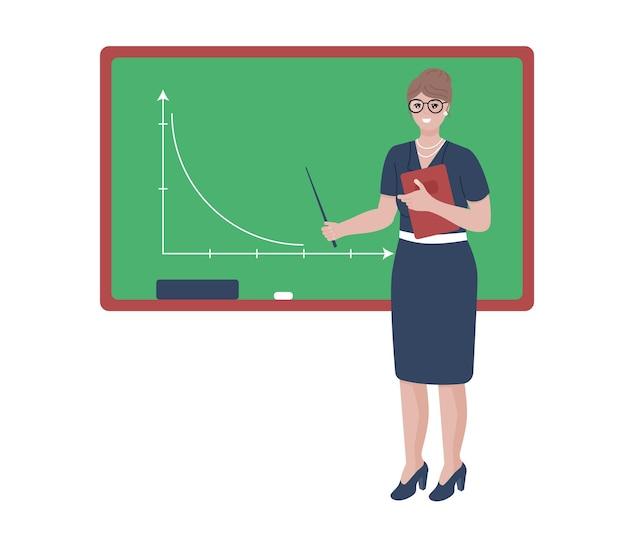 보드 옆에 포인터가 있는 여자 학교 교사 캐릭터