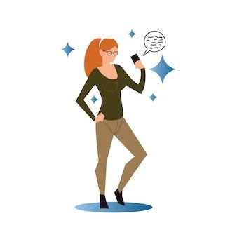 스마트 폰 장치 그림을 사용하여 포니 테일을 가진 여자