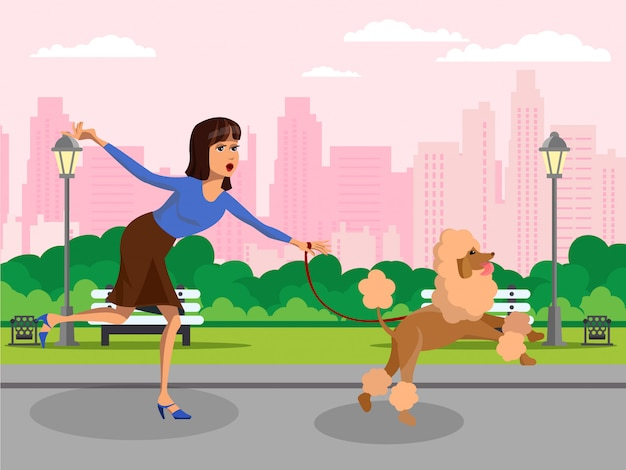 Woman with poodle running vector design element.