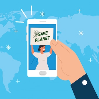 Woman with protests placards, save planet label, in smartphone