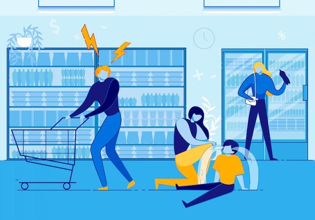 ショッピングモールで叫んで荒れ狂う子供を持つ女性