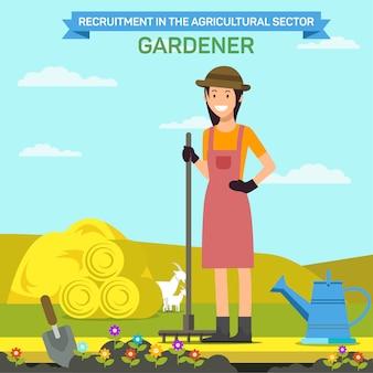 Woman with rake near flower bed on farm. gardener.
